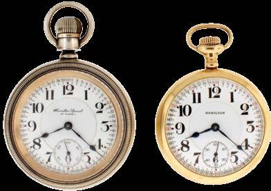 nickel movement, Arabic numeral white enamel dial, gold filled open face case, serial #78426 1127 Pocket watches- 2 (Two): Both 18 size Hamilton, the first a 940, 21 jewel, two tone damascened nickel