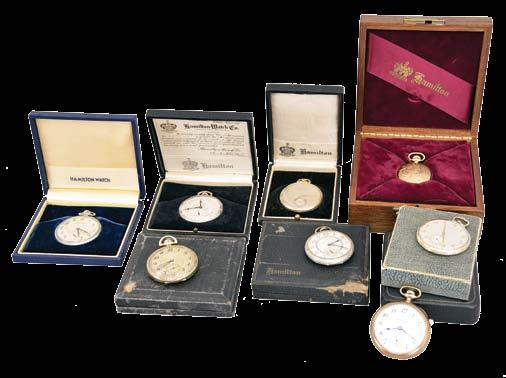 1156 Pocket watches- 4 (Four): The first a Hamilton 930, 18 size, 16 jewel damascened nickel movement, Arabic numeral white enamel dial, gold filled open face case, serial #19140, the next an