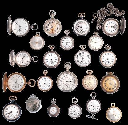 Waltham, 18-16 size, 7-17 jewel gilt and nickel movements, white enamel dials, nickel, silver, and gold filled cases 1175 1176 Pocket watches- 12 (Twelve): Makers including Elgin, Waltham, N.Y.