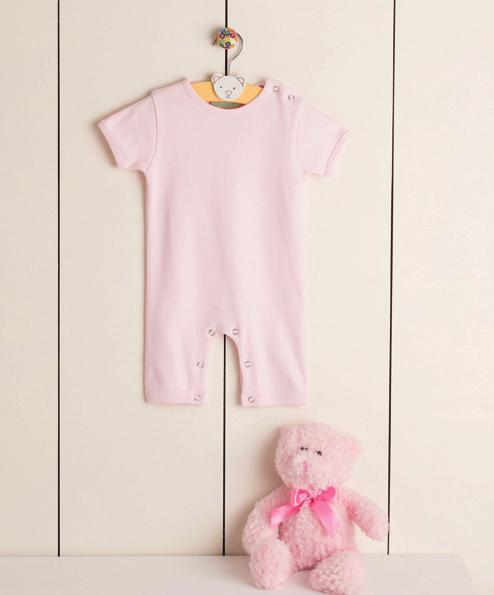 SLEEVED ROMPER SUIT LW054 Short sleeved romper suit with YKK popper fastening around legs to allow for front decoration.