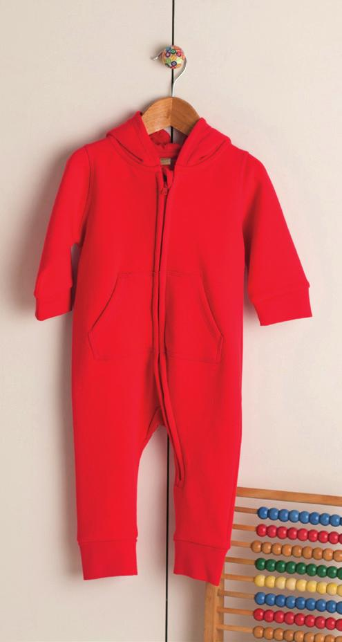 FLEECE ALL IN ONE LW070 Children s all in one with ear details on hood and kangaroo pocket.