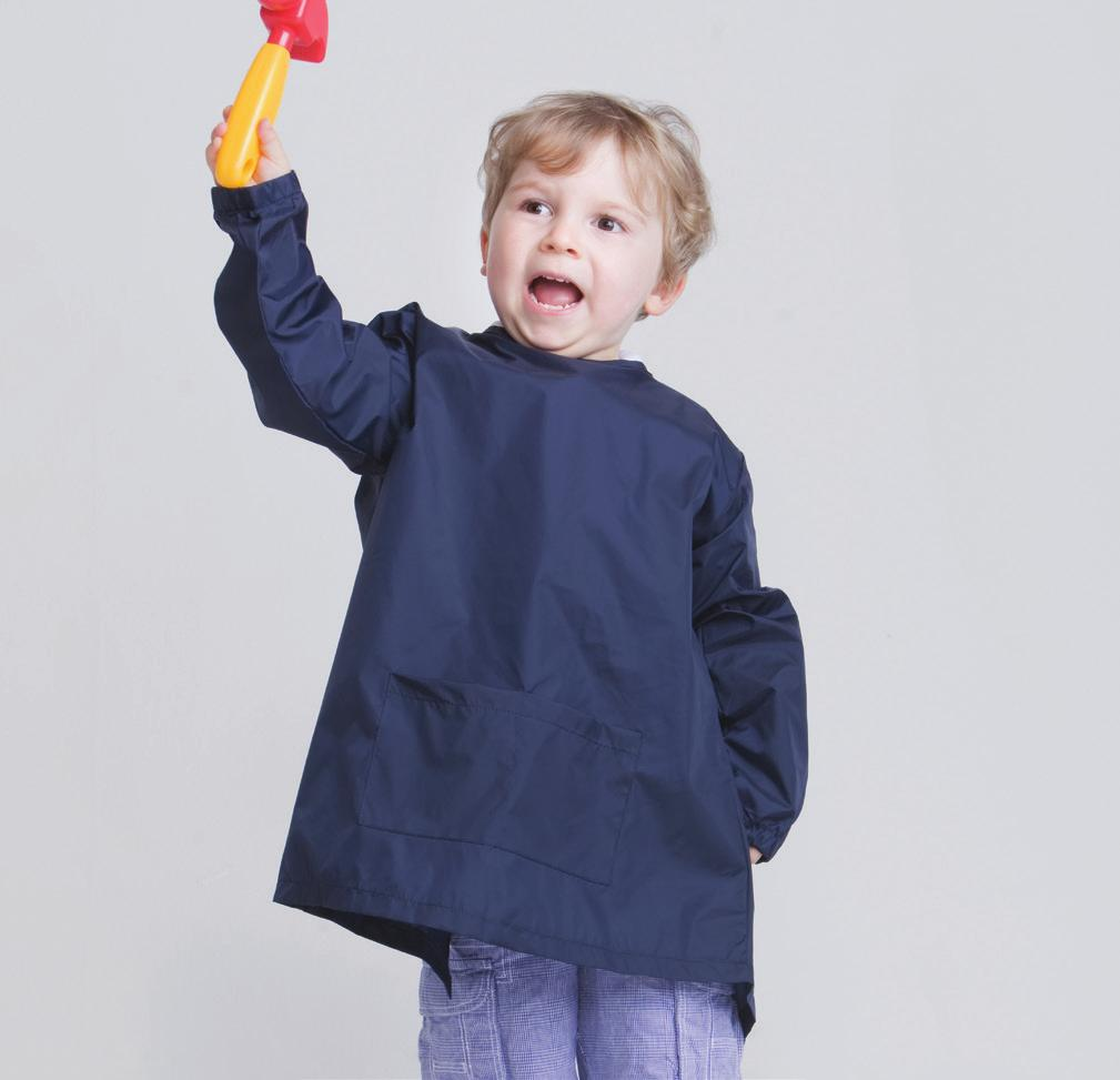 NAVY PAINTING SMOCK LW024 Water resistant painting smock with front pocket details and hook and loop fastening at