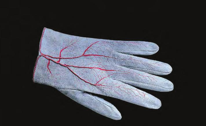 MERET OPPENHEIM Glove, 1985 For Parkett 4 Goat suede with silk-screen and handstitched,
