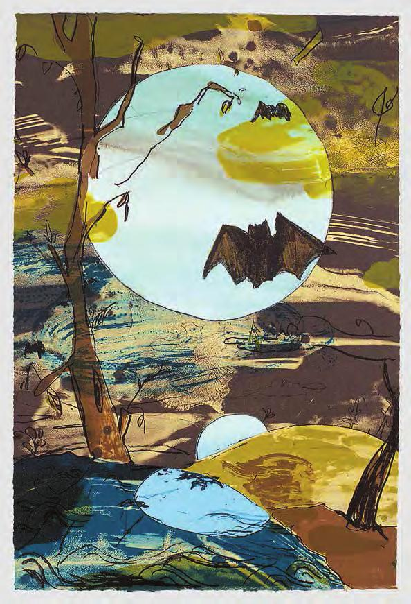 LAURA OWENS Untitled, 2002 For Parkett 65 Handprinted 10-color lithograph on tan BFK Rives with three collage elements: one handpainted with watercolor on blue Magnani Pescia, two on white BFK