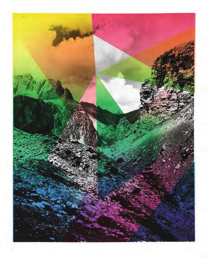 SHIRANA SHAHBAZI Composition With Mountain, 2014 For Parkett 94 6-color lithograph on gelatin silver baryta print.