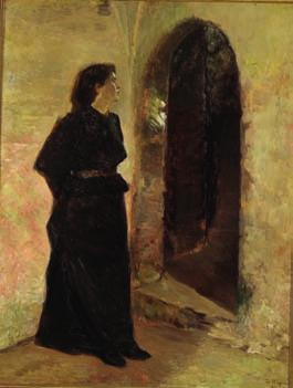 99 BERTHA WEGMANN b. Soglio, Switzerland 1847, d. Copenhagen 1926 Young woman at a domed door. Signed and dated B. Wegmann 1898.