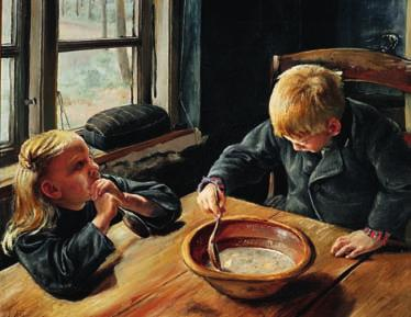 "Roskilde 1933 ""En Dreng og en Pige ved Middagsmaden"". A boy and a girl eating supper. Signed and dated L. A. Ring 84. Oil on canvas."