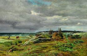 "102 CHRISTIAN ZACHO b. Grenaa 1843, d. Hellerup 1913 ""Bygevejr over Hornbæk"". Rainy day near Hornbæk. Signed and dated Chr. Zacho 1882. Oil on canvas. 53 x 80 cm."