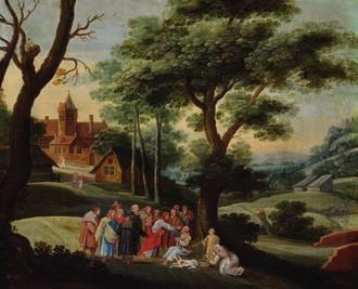 DKK 30,000 / 4,000 126 NICOLAS POUSSIN style of, 17th century Rest on the Flight