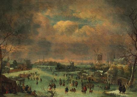 127 127 JAN GRIFFIER LE VIEUX, ASCRIBED TO b. Amsterdam 1652, d. London 1718 Winter day with skaters on a lake in a Dutch town. Unsigned.