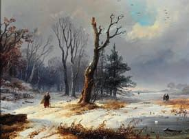 DKK 10,000-15,000 / 1,350-2,000 128 REMIGIUS ADRIANUS VAN HAANEN b. Oosterhout 1812, d. Bad Aussee 1894 Winter landscape with figures.