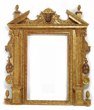 148 148 a large italian renaissance giltwood frame, carved with corinthian pillars, cherubs and fruit