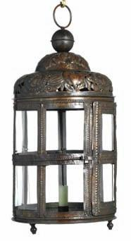 152 a dutch baroque brass lantern. 18th century. later glass. H. 60 cm. diam.