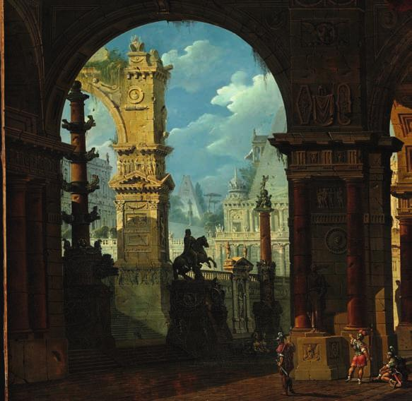 2 2 GIOVANNI NICCOLI SERVANDONI b. Florence 1695, d. Paris 1766 A capriccio of classical buildings, in the foreground Roman soldiers in a colonnade. Unsigned. Oil on canvas. 120 x 153 cm.