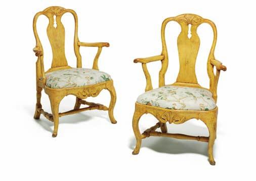 188 188 a pair of swedish rococo yellow painted armchairs, carved with rocaille and foliage.