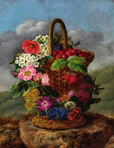 4 4 I. L. JENSEN b. Copenhagen 1800, d. s.p. 1856 Strawberries in a tall basket decorated with a colourful wreath.