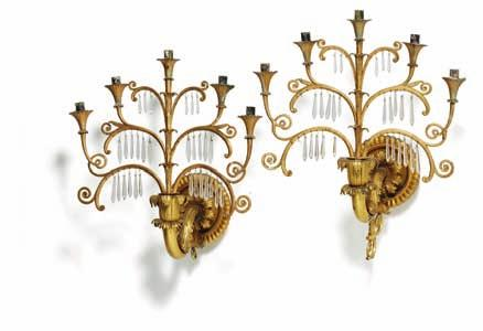 241 241 a pair of German giltwood, gilt metal and cut glass five-light wall lights, after design by karl friedrich schinkel (1781-1841). berlin, c. 1830. H. 50 cm.