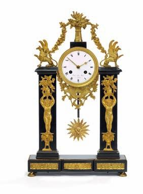 265 a french late empire black marble and gilt bronze mantel clock, cast with griffins, cherubs and vases with