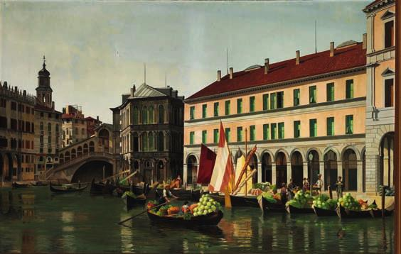 7 7 I. T. HANSEN b. Randers 1848, d. s.p. 1912 View of Venice with boats studded with vegetables and fruit near the Rialto Bridge. Unsigned. Oil on canvas. 118 x 184 cm.