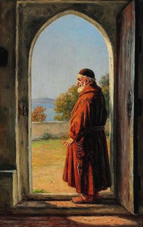 "10 10 MARTINUS RØRBYE b. Drammen 1803, d. Copenhagen 1848 ""Munk i en dør"". A monk in a doorway. Signed and dated M. R. 1848. Oil on cardboard. 30 x 19 cm."