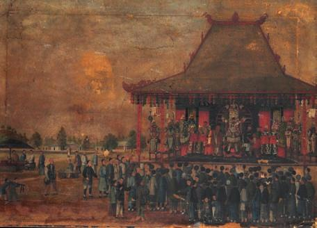 345 345 Chinese painter, early 19th C entury Crowds in front of an imperial pagoda. Unsigned.
