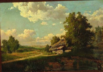1914 russian summer landscape with a hut, in the background a larger city. unsigned. inscribed and dated on the stretcher M. Klodt 1858.
