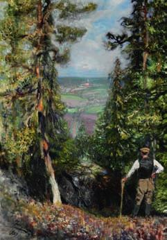 Helsinki 1954 a russian forester pausing and looking at the valley. signed and dated Juri repin 1929. Oil on canvas. 86 x 60 cm.