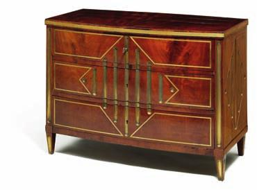 DKK 60,000 / 8,050 361 362 russian mahogany and brass inlaid bow front commode.
