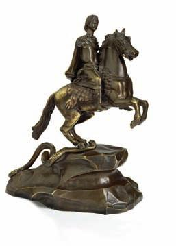 russian patinated bronze scultpure of Tsar Peter the great as reformer of the russian state, stepping on a snake symbolizing the Tsar's enemies.