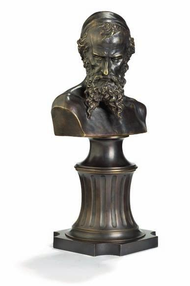 "368 368 m ark m atvejevich antokolskii, after ""nathan the Wise"", patinated bronze bust. Cast after the model by Mark antokolskii from 1868. apparently unmarked. H. 45 cm."