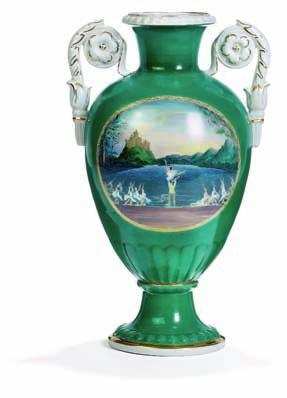 "DKK 20,000 / 2,700 371 371 russian baluster porcelain vase, decorated in colours with scene from the ballet ""swan lake"" and a portrait of the composer Pyotr ilyich"