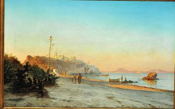 "14 14 CARL NEUMANN b. Copenhagen 1833, d. s.p. 1891 ""Strandparti ved Tanger"". View of the beach near Tangier."