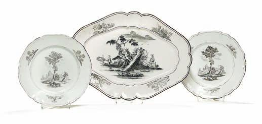 434 434 marieberg faience dish and two plates, decorated in sepia with printed motifs, chinese in landscape and architecture in landscape.