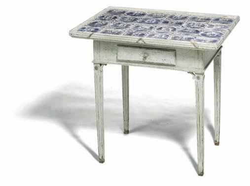 437 437 danish louis Xvi white painted tile top table, top inlaid with dutch tiles, decorated in blue, the