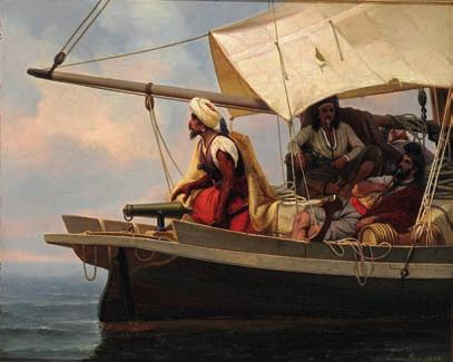 18 18 NIELS SIMONSEN b. Copenhagen 1807, d. Frederiksberg 1885 Pirates on the watch on a sailing ship in the sun.