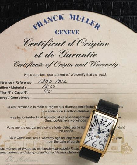 680 680 FraN c K MullE r gentleman's wristwatch of 18 ct. gold. Model long island 1200 Mc l. automatic movement with annual calendar (day, date and month) and moonphase.