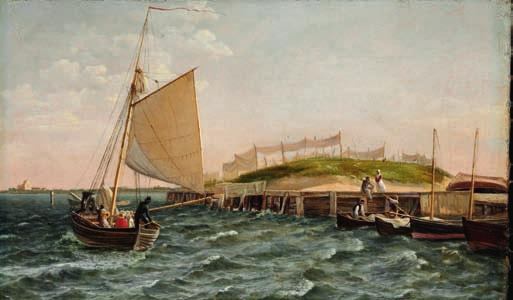 "27 27 C. W. ECKERSBERG b. Blåkrog, Aabenraa 1783, d. Copenhagen 1853 ""En Sejlbaad i Vending ved Strandbredden"". A sailing boat turning near the coast. Unsigned. Oil on canvas. 19 x 31 cm."