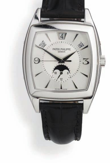 718 p atek p hilippe gentleman's wristwatch of 18 ct. whitegold. Model 5135g gondolo. automatic movement with annual calendar (day, date, month) and moon phase, calibre 324 s Qa lu 24h.