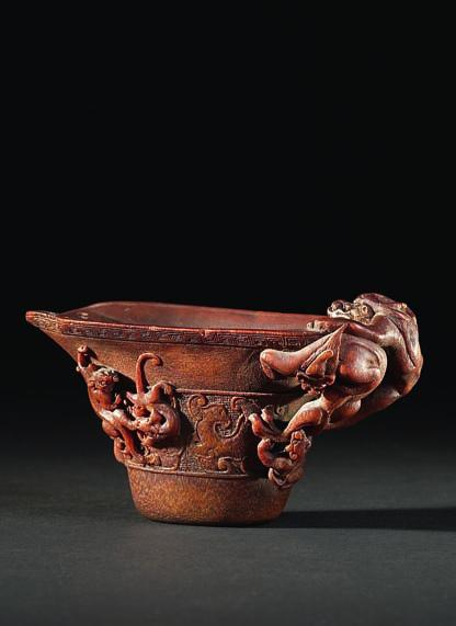 FINE ART + ANTIQUES Oriental works of art Auction: Later this year Chinese carved Rhinoceros cup.