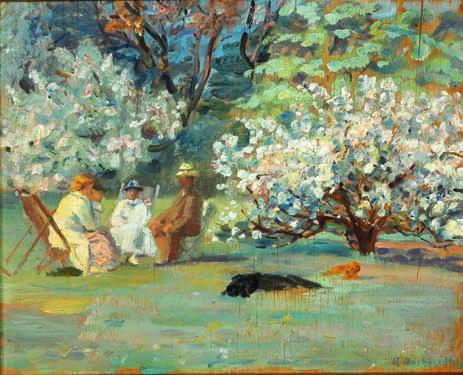 31 31 ANNA ANCHER b. Skagen 1859, d. s.p. 1935 Summer day in Brøndum's garden, Skagen. Signed and dated A. Ancher 1918. Oil on panel. 42 x 52 cm.