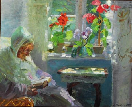 "32 32 ANNA ANCHER b. Skagen 1859, d. s.p. 1935 ""Fru Brøndum i sin Stue, læsende"". Ane Brøndum, the painter's mother, reading in her sitting-room. Signed and dated A. Ancher 1912. Oil on cardboard."