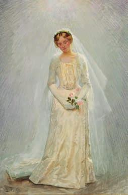 "39 LAURITS TUXEN b. Copenhagen 1853, d. s.p. 1927 ""Portræt af en brud"". Portrait of a bride. Signed and dated L. T. 04. Oil on canvas. 85 x 58 cm."