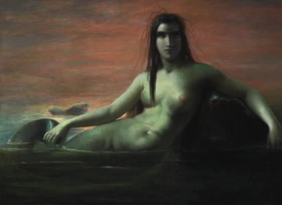 41 41 ELISABETH JERICHAU BAUMANN b. Warsaw 1819, d. Copenhagen 1881 A mermaid. Unsigned. Oil on canvas. 97 x 130 cm.