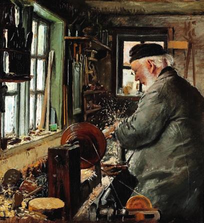 "48 48 L. A. RING b. Ring 1854, d. Roskilde 1933 ""En Drejer ved sin Drejebænk"". A turner at his lathe. Signed and dated L. A. Ring 1890. Oil on canvas. 40 x 36 cm. H. Chr."