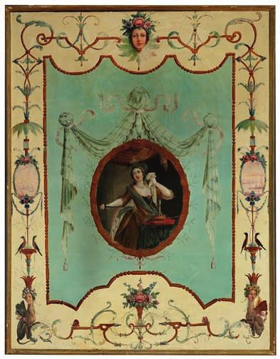53 53 FRENCH PAINTER late 18th century A pair of large painted panels decorated with young women in medallions surrounded by branches and borders with cherub heads decorated with flowers,