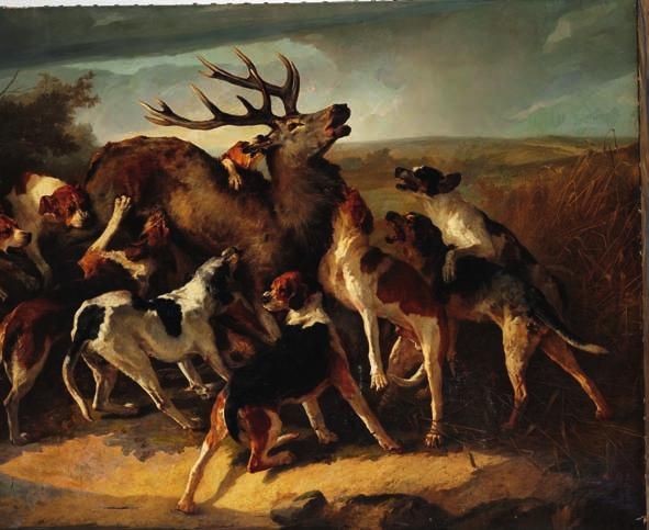 55 55 JOSEPH URBAIN MÉLIN b. Paris 1814, d. 1886 Hunting scene with dogs attacking a stag. Signed and dated J. Mélin 1864. Oil on canvas. 250 x 400 cm. Unframed.