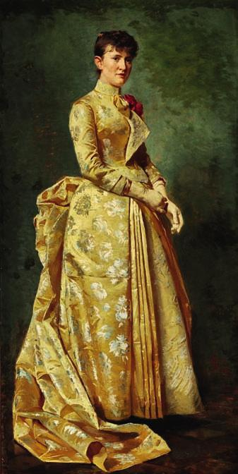 56 56 ERIK HENNINGSEN b. Copenhagen 1855, d. s.p. 1930 Portrait of Anna Helen Eybe married to barrister Eybe, in a yellow evening gown.