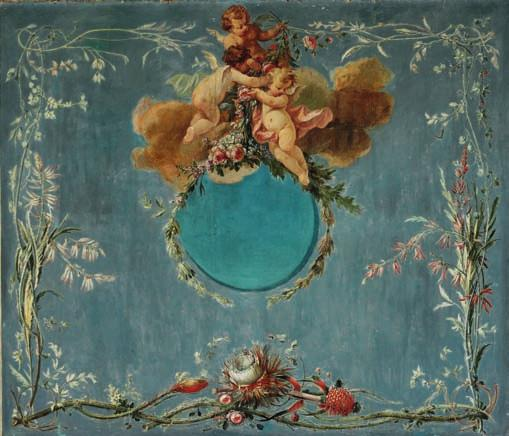 61 61 PAINTER UNKNOWN c. 1775 Large panel decorated with angels seated on flower branches, borders of flowers and fruit encircle them. Blue background. Unsigned. Oil on canvas.