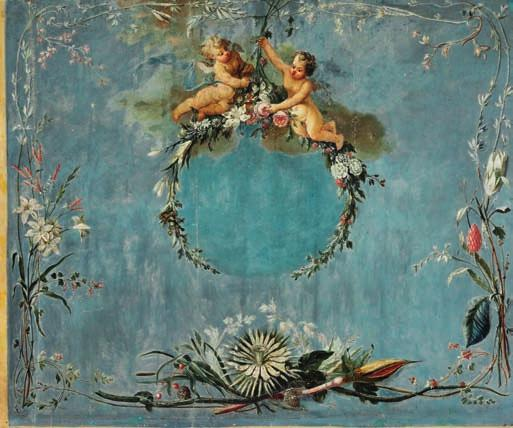 62 62 PAINTER UNKNOWN c. 1775 Large panel decorated with angels seated on flower branches, borders of flowers and fruit encircle them. Blue background. Unsigned. Oil on canvas.