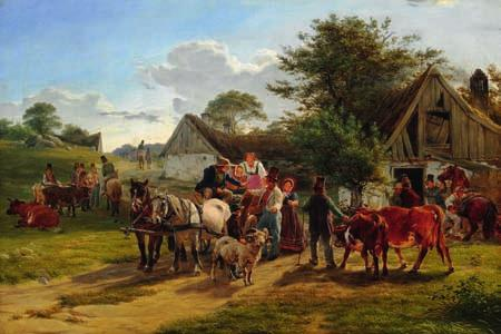 "73 73 CARLO DALGAS b. Naples 1821, d. Schleswig 1851 ""Parti af et Dyrskue"". A cattle show. 1846. Unsigned. Oil on canvas. 64 x 94 cm."